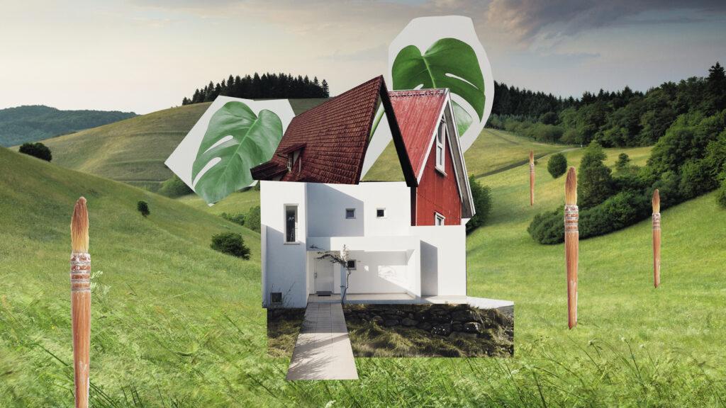 Eine Papier-Collage mit Haus und Hügeln und Wiesen. Collagen illustrieren das Thema kulturelle Bildung im Projekt Kreativpotenitale im Dialog. Bild: Bijan Dawallu