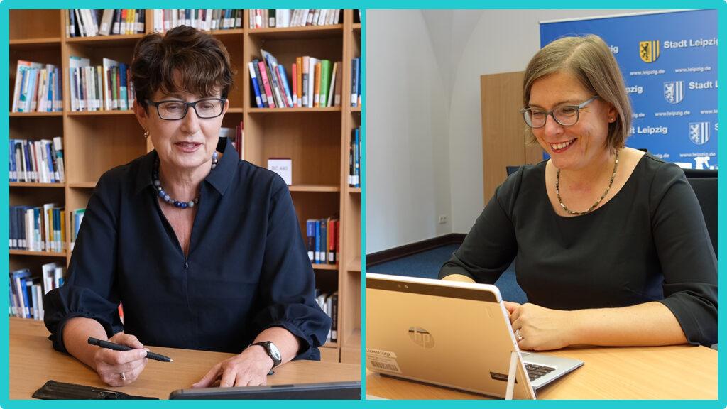 """Ulli Sommer (links) ist Geschäftsführerin der Wider Sense TraFo gGmbH. Die gemeinnützige Gesellschaft ist Trägerin des Projektes """"Kreativpotentiale im Dialog"""". Dr.in Skadi Jennicke (rechts) ist Kulturbürgermeisterin der Stadt Leipzig."""